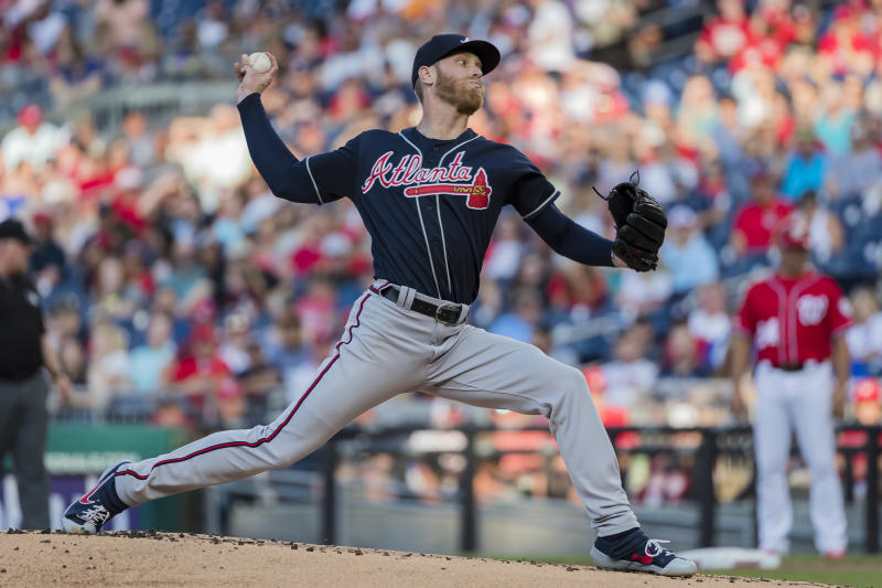 WASHINGTON, DC - JUNE 22: Mike Foltynewicz #26 of the Atlanta Braves pitches against the Washington Nationals during the first inning at Nationals Park on June 22, 2019 in Washington, DC. (Photo by Scott Taetsch/Getty Images)