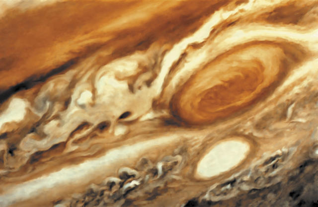 It is thought that the Great Red Spot on Jupiter is a huge storm, twice the size of Earth, (Photo by: QAI Publishing/Universal Images Group via Getty Images)