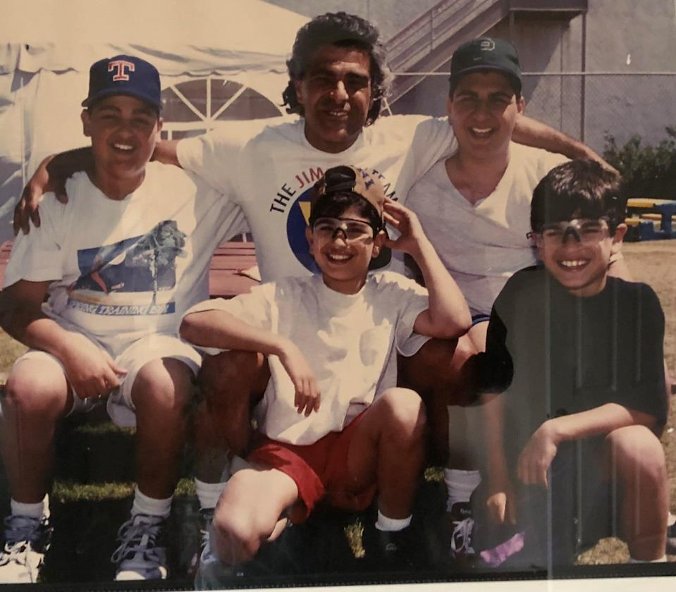 Zack Minasian is shown with his boys Perry, top left, Rudy, top right, Calvin, bottom left and Zack at spring training in the early 1990s.