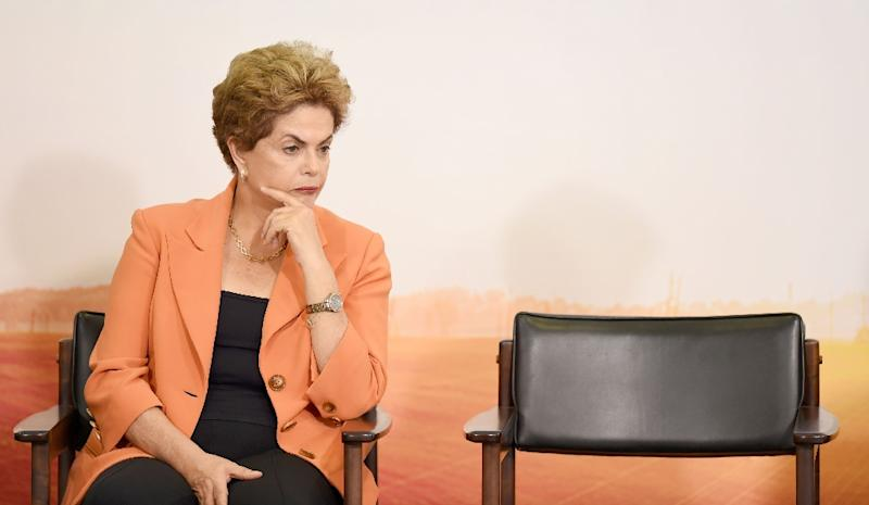 Brazilian President Dilma Rousseff attends the launching of the Agricultural and Livestock Plan for 2016/2017, at Planalto Palace in Brasilia, on May 4, 2016 (AFP Photo/Evaristo Sa)