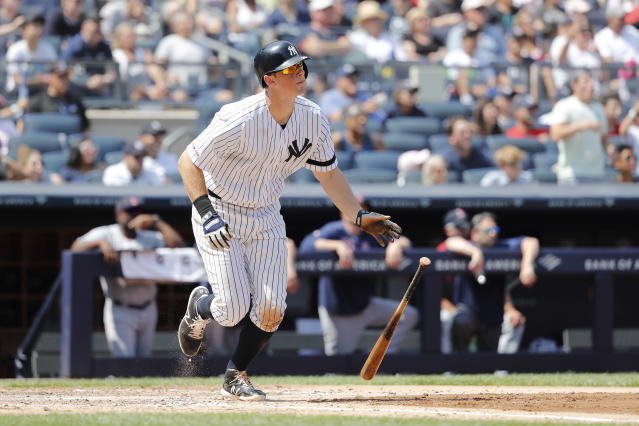 New York Yankees DJ LeMahieu hits a three-run home run against the Boston Red Sox in the fourth inning of a baseball game, Saturday, Aug. 3, 2019, in New York. New York Yankees Breyvic Valera and New York Yankees Brett Gardner scored. (AP Photo/Michael Owens)
