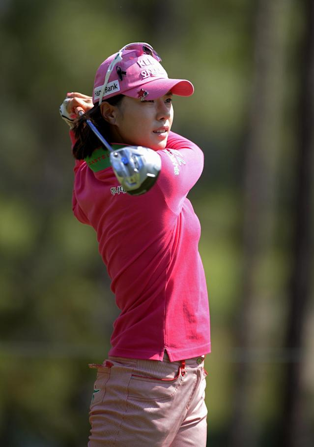 Hee Young Park, of South Korea, watches the flight of her tee shot on the ninth hole in the second round of the Airbus LPGA Classic golf tournament at Magnolia Grove on Friday, May 23, 2014, in Mobile, Ala. (AP Photo/G.M. Andrews)