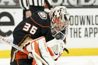 Anaheim Ducks goaltender John Gibson stops a shot during the first period of an NHL hockey game against the Vegas Golden Knights Saturday, Feb. 27, 2021, in Anaheim, Calif. (AP Photo/Mark J. Terrill)