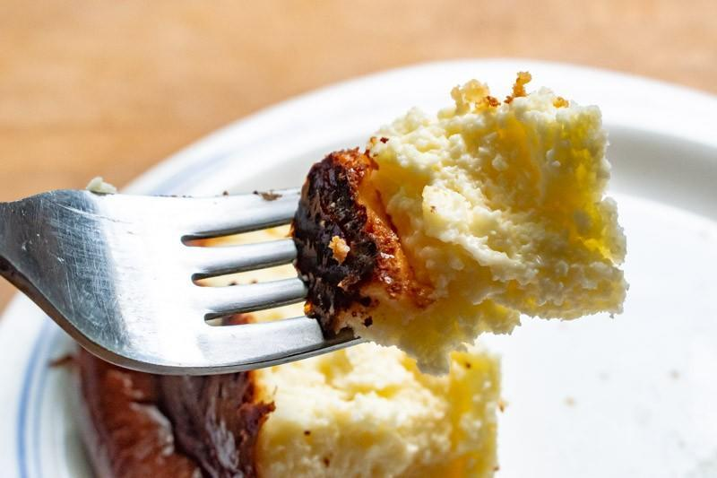 Side view of Air Fryer Basque Burnt Cheesecake