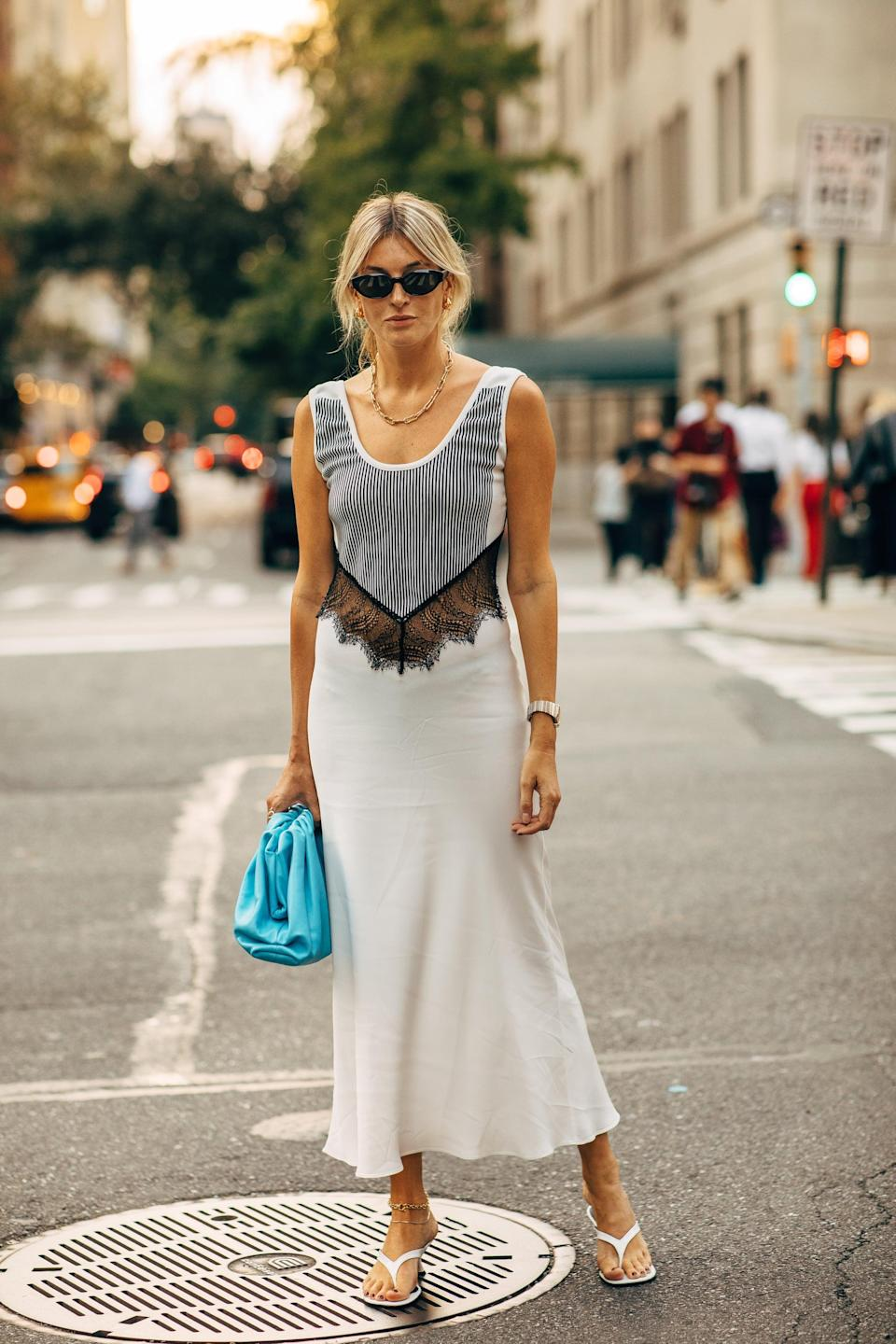 <p>Let a great dress speak for itself, and simply add in barely-there sandals. </p>