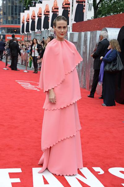 <p>WHO: Sarah Paulson</p> <p>WHAT: Valentino</p> <p>WHERE: At the <em>Ocean's 8</em> premiere, London</p> <p>WHEN: June 13, 2018</p>