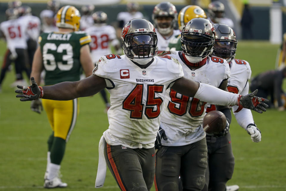 Devin White (45) and the Tampa Bay Buccaneers beat the Packers for the NFC championship. (AP Photo/Mike Roemer)