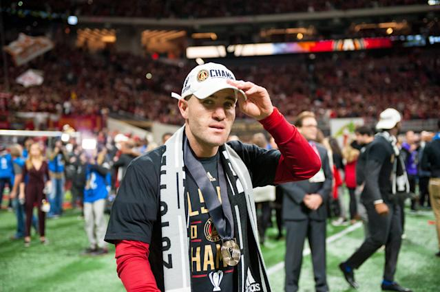 "A quad injury forced <a class=""link rapid-noclick-resp"" href=""/soccer/players/460384/"" data-ylk=""slk:Greg Garza"">Greg Garza</a>, who helped Atlanta United win MLS Cup last month, withdraw from USMNT camp. (Getty)"