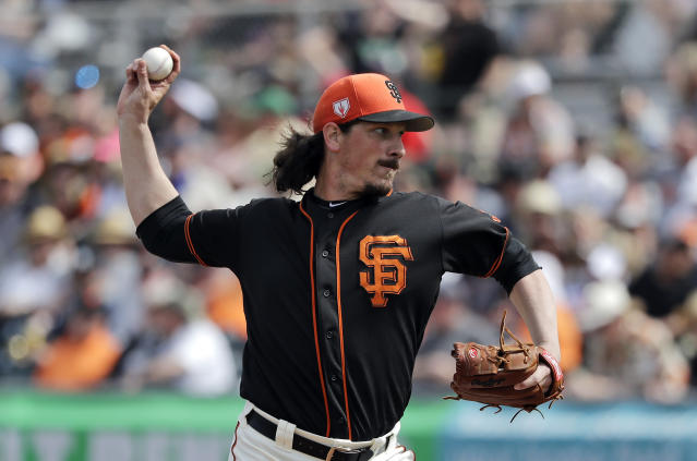 San Francisco Giants starting pitcher Jeff Samardzija throws against the Los Angeles Angels in the fourth inning of a spring training baseball game Friday, March 15, 2019, in Phoenix. (AP Photo/Elaine Thompson)