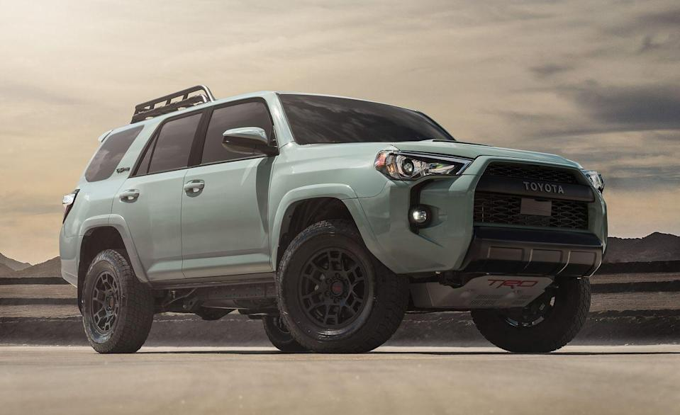 "<p>The <a href=""https://www.caranddriver.com/toyota/4runner"" rel=""nofollow noopener"" target=""_blank"" data-ylk=""slk:Toyota's 4Runner"" class=""link rapid-noclick-resp"">Toyota's 4Runner</a> is built for serious work, not just profiling at Target. Every 4Runner is capable, but the four-wheel-drive-only TRD Pro is the beastly one, with an electronic locking rear differential, thick underbody skid plates, 2.5-inch Fox internal-bypass dampers, and specially tuned front springs that help raise the nose by 1.0 inch. New for 2020 is a 8.0-inch touchscreen with Apple CarPlay and Android Auto compatibility atop the center of the dash. There's also a digital display between the speedometer and tachometer for monitoring the vehicle's behavior. So now you can crawl off-road while being reassured that you have oil pressure.</p>"