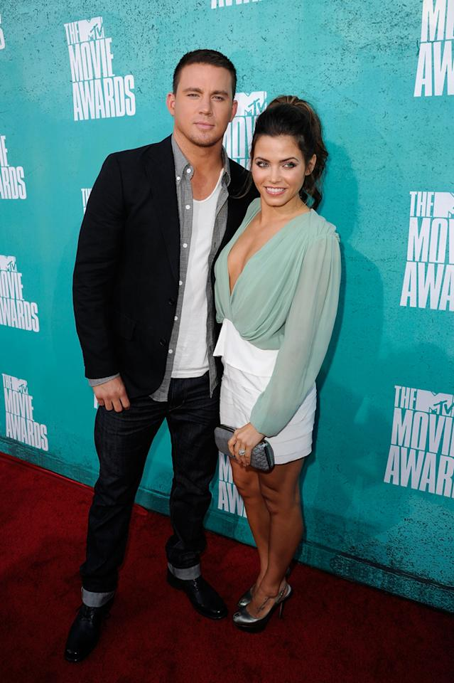 Channing Tatum and Jenna Dewan arrive at the 2012 MTV Movie Awards.