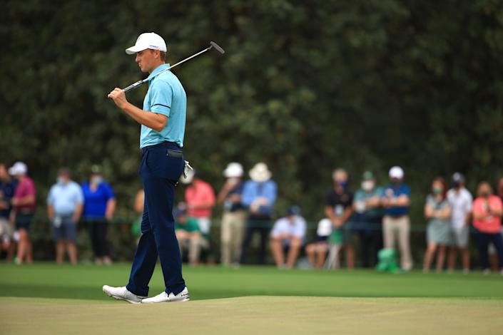 Jordan Spieth fought his way through troubles to put himself in position to win another Masters. (Photo by Mike Ehrmann/Getty Images)