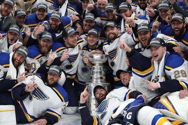 The St. Louis Blues celebrate after defeating the Boston Bruins in Game Seven to win the 2019 NHL Stanley Cup Final at TD Garden on June 12, 2019 in Boston, Massachusetts. (Photo by Patrick Smith/Getty Images)