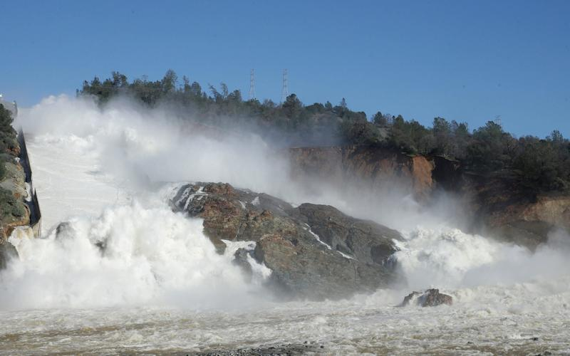 Image result for pics of Oroville dam spill over