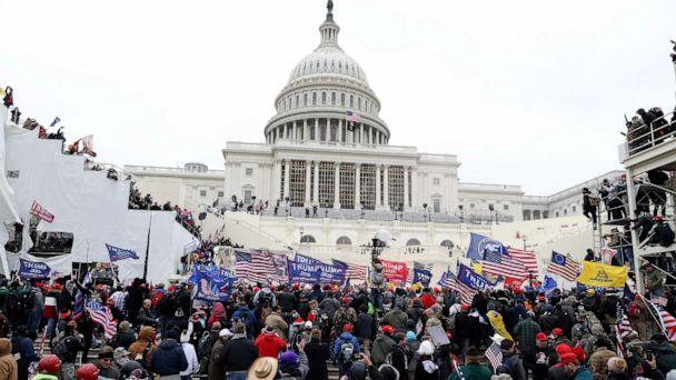 PHOTO: Protesters gather outside the U.S. Capitol Building, Jan. 6, 2021, in Washington, DC. (Tasos Katopodis/Getty Images)