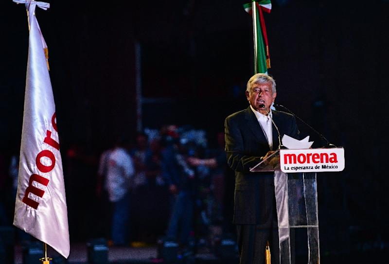 Mexico's frontrunning presidential candidate Andres Manuel Lopez Obrador delivers a speech during the closing campaign rally in Mexico City (AFP Photo/RONALDO SCHEMIDT)