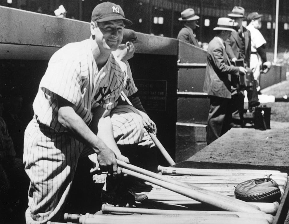 NEW YORK - MAY 31, 1938.  Lou Gehrig, first baseman for the New York Yankees, poses on the dugout steps of Yankee Stadium shortly before he plays in his 2000th consecutive game.  (Photo by Mark Rucker/Transcendental Graphics, Getty Images)