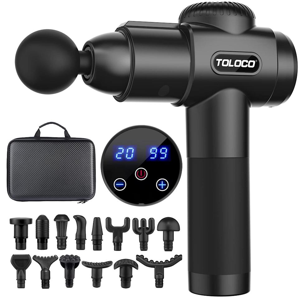 """<br><br><strong>TOLOCO</strong> Percussion Muscle Massage Gun, $, available at <a href=""""https://amzn.to/2QUU53T"""" rel=""""nofollow noopener"""" target=""""_blank"""" data-ylk=""""slk:Amazon"""" class=""""link rapid-noclick-resp"""">Amazon</a>"""