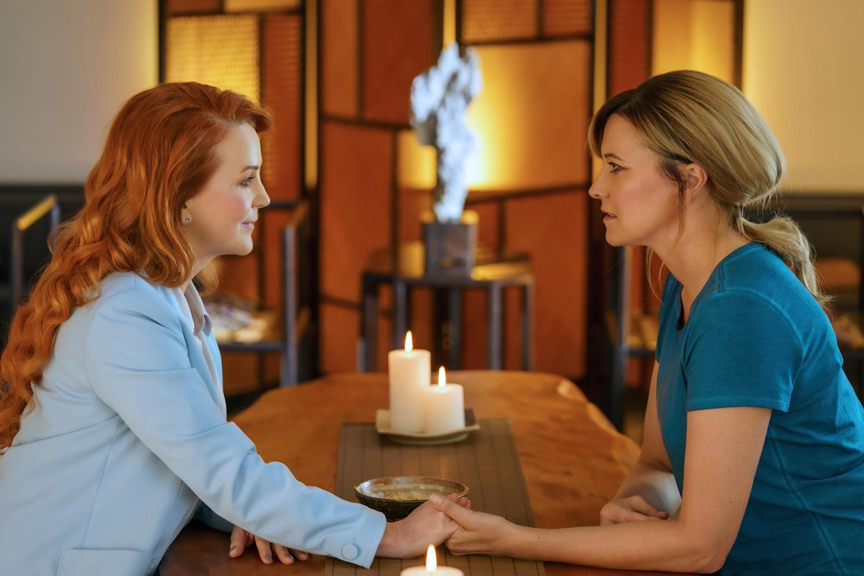 Lucy Lawless and Renee O'Connor reunite 20 years after the end of Xena: Warrior Princess. (Photo: Matt Klitscher/AcornTV)