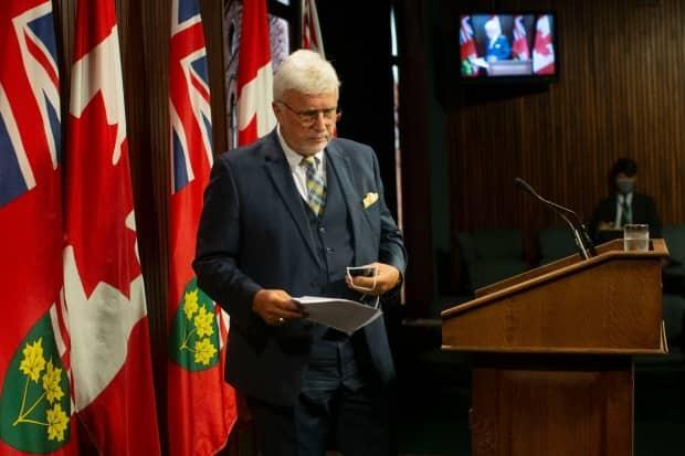 Ontario PC MPP Rick Nicholls leaves  a news conference at the Queens Park Legislature, in Toronto on Thursday, August 19, 2021, after announcing that he would not get vaccinated against COVID-19.  (The Canadian Press - image credit)