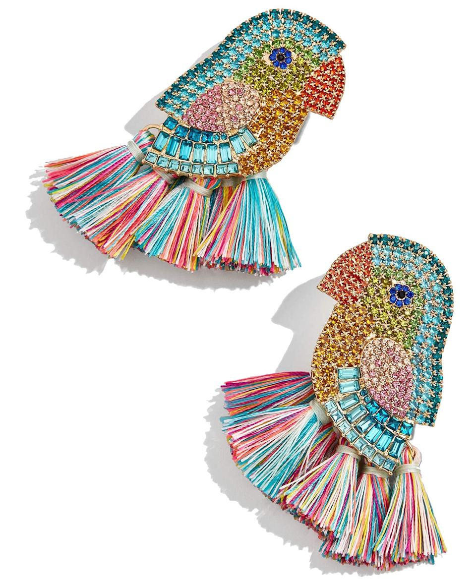 """<h3><a href=""""https://amzn.to/2I5tI33"""" rel=""""nofollow noopener"""" target=""""_blank"""" data-ylk=""""slk:Amazon Beaded Bird Tassel Earrings"""" class=""""link rapid-noclick-resp"""">Amazon Beaded Bird Tassel Earrings</a></h3><br>A true Amazon-accessory treasure brought to the top of our cold February carts by <a href=""""https://www.refinery29.com/en-us/best-things-on-amazon-hidden-gems#slide-12"""" rel=""""nofollow noopener"""" target=""""_blank"""" data-ylk=""""slk:one reader who swears they can, &quot;brighten up any outfit"""" class=""""link rapid-noclick-resp"""">one reader who swears they can, """"brighten up any outfit</a> and make it feel more joyful.""""<br><br><strong>Best Lady</strong> Beaded Bird Tassel Earrings, $, available at <a href=""""https://amzn.to/2I5tI33"""" rel=""""nofollow noopener"""" target=""""_blank"""" data-ylk=""""slk:Amazon"""" class=""""link rapid-noclick-resp"""">Amazon</a>"""