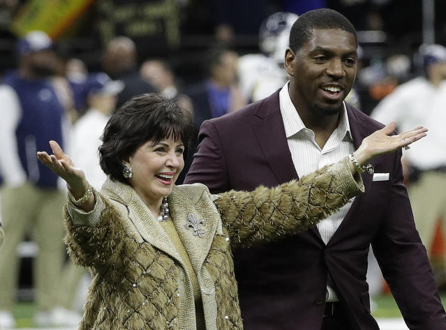 Not smiling now: New Orleans Saints owner Gayle Benson is pledging to push for changes that will prevent another game-changing mistake like the one her team experienced on Sunday. (AP)