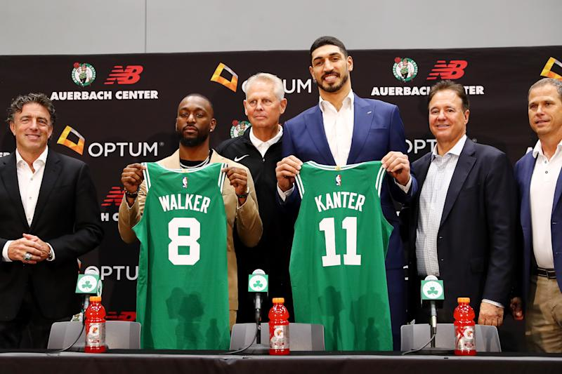 BOSTON, MASSACHUSETTS - JULY 17: Kemba Walker and Enes Kanter are introduced as members of the Boston Celtics by Celtics President of Basketball Operations Danny Ainge during a press conference at the Auerbach Center at New Balance World Headquarters on July 17, 2019 in Boston, Massachusetts. (Photo by Tim Bradbury/Getty Images)