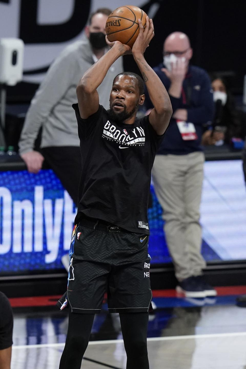 Brooklyn Nets' Kevin Durant works out before an NBA basketball game against the New Orleans Pelicans Wednesday, April 7, 2021, in New York. (AP Photo/Frank Franklin II)