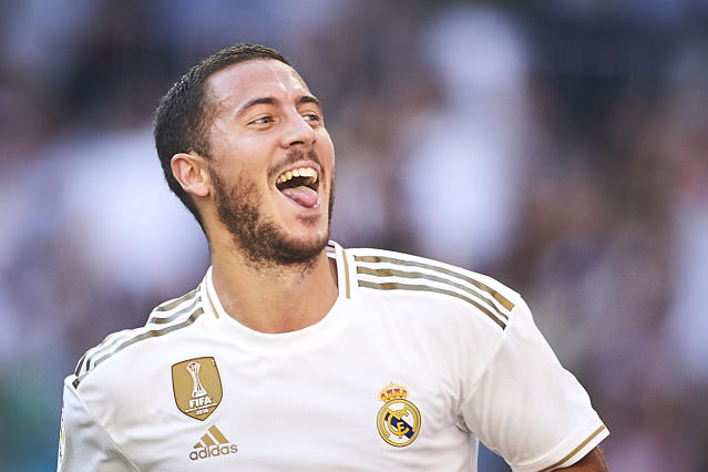 Eden Hazard scored his first goal for Real Madrid since his big summer move from Chelsea. (Getty)