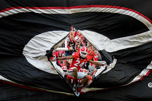 "The <a class=""link rapid-noclick-resp"" href=""/ncaab/teams/gaf/"" data-ylk=""slk:Georgia Bulldogs"">Georgia Bulldogs</a> will make their first appearance in the championship game of the College Football Playoff on Monday night. (Reuters)"