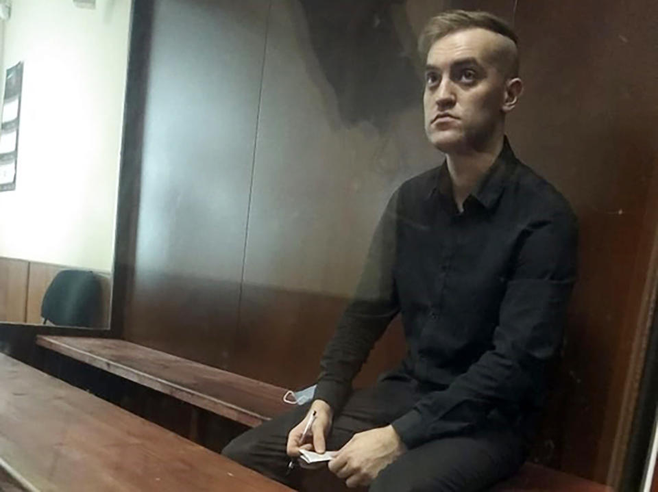 Nikita Enin appearing in court where he was sentenced to nine years in prison. Source: Australscope