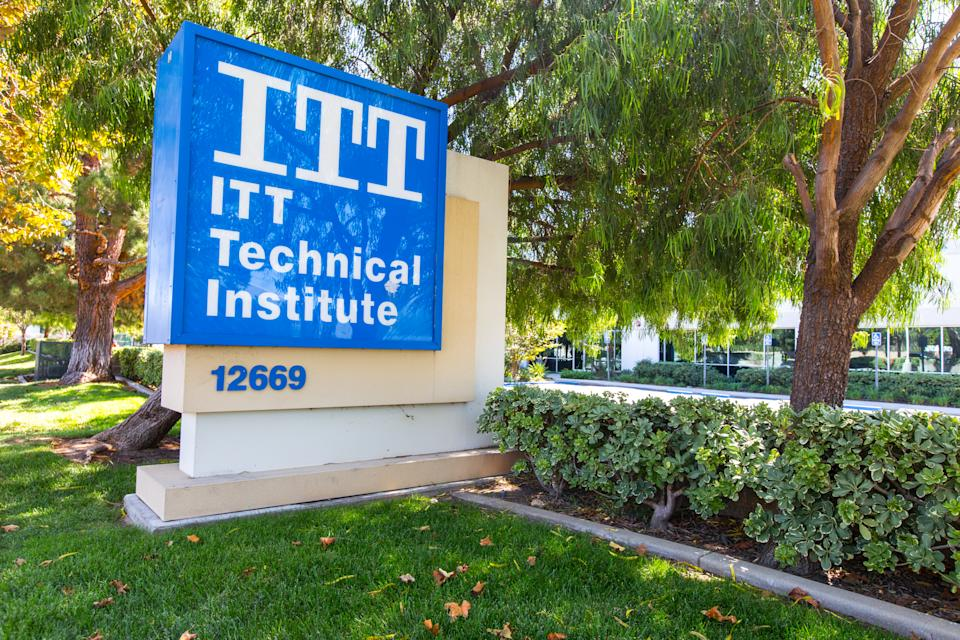 Sylmar CA - September 18, 2016: Headquarters of ITT Educational Services in Indiana.  The ITT technical institute has decided to shut down all of its campuses following devastating federal sanctions.  The school closes its doors a few days after filing for bankruptcy for misleading students and putting them in debt.