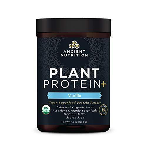"""<p><strong>Ancient Nutrition</strong></p><p>amazon.com</p><p><strong>$31.96</strong></p><p><a href=""""https://www.amazon.com/dp/B08548PFQ1?tag=syn-yahoo-20&ascsubtag=%5Bartid%7C10055.g.35084321%5Bsrc%7Cyahoo-us"""" rel=""""nofollow noopener"""" target=""""_blank"""" data-ylk=""""slk:Shop Now"""" class=""""link rapid-noclick-resp"""">Shop Now</a></p><p>While most vegan protein powders are based with soy or pea, some people are allergic or have an issue digesting those protein sources. But this option from Ancient Nutrition is <strong>void of soy or pea protein</strong> <strong>and instead uses a protein blend based with pumpkin seed.</strong> It's also stevia-free, USDA organic, and packs in 15g of protein for one scoop and 50% of your daily iron needs . It comes in vanilla, chocolate and berry, and we found that it works great in smoothies.</p>"""