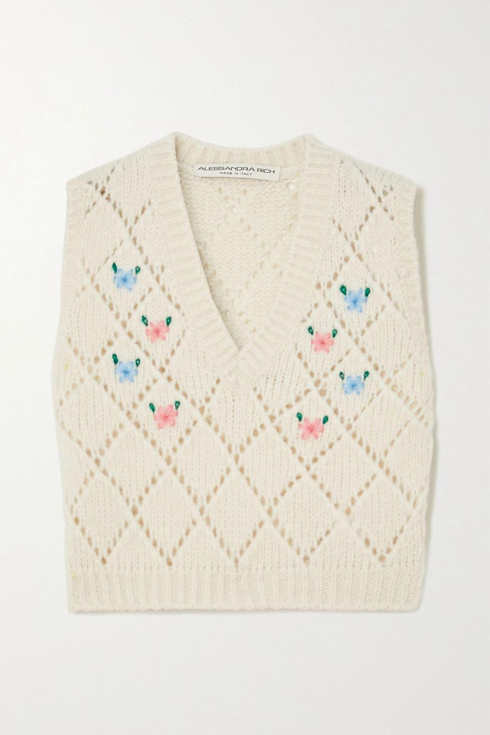 <p>We love the retro look of this <span>Alessandra Rich Embroidered Vest</span> ($167, originally $555).</p>