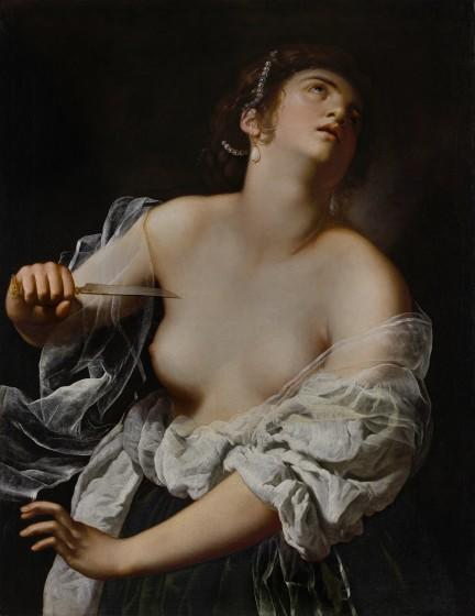"""The painting """"Lucretia"""" Artemisia Gentileschi dates to about 1627 and shows a bare-chested woman with a dagger at her throat."""
