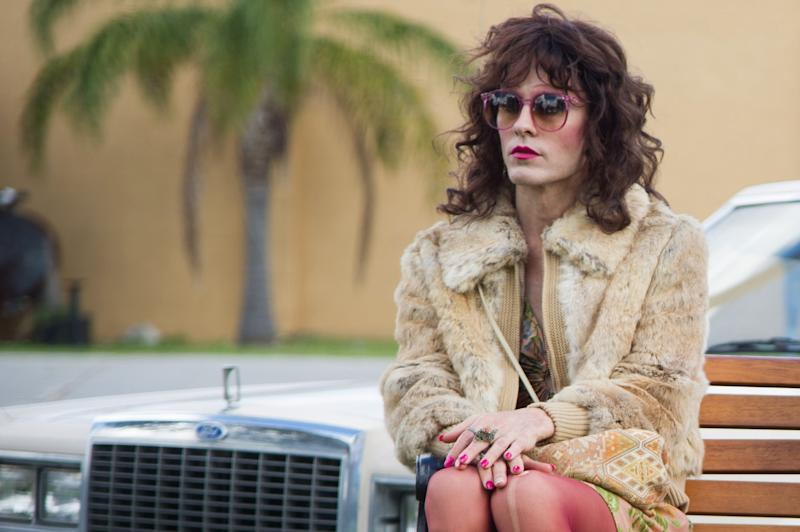 "This image released by Focus Features shows Jared Leto as Rayon in a scene from ""Dallas Buyers Club."" ""Blue Jasmine,"" ""Nebraska"" and ""American Hustle"" have been nominated for Writers Guild honors, continuing their imprint on Hollywood's awards season. The three comedies gained nods on Friday, Jan. 3, 2014, for exceptional screen writing. (AP Photo/Focus Features, Anne Marie Fox)"