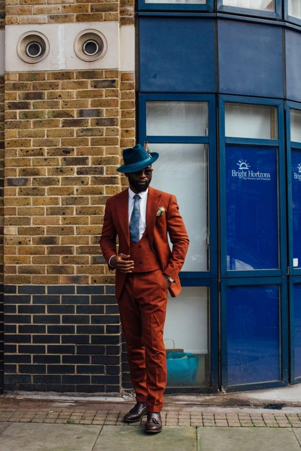 <p>On the street at London Fashion Week Men's Fall 2020. </p>