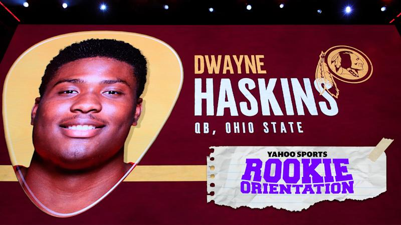 Matt Harmon outlines the ascendant rise and draft-night fall of Dwayne Haskins on Rookie Orientation, presented by Yahoo Sports. (Photo by Andy Lyons/Getty Images)