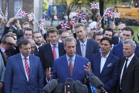 Nigel Farage, the leader of the United Kingdom Independence Party (UKIP), makes a statement after Britain voted to leave on the European Union in London, Britain, June 24, 2016.   REUTERS/Toby Melville