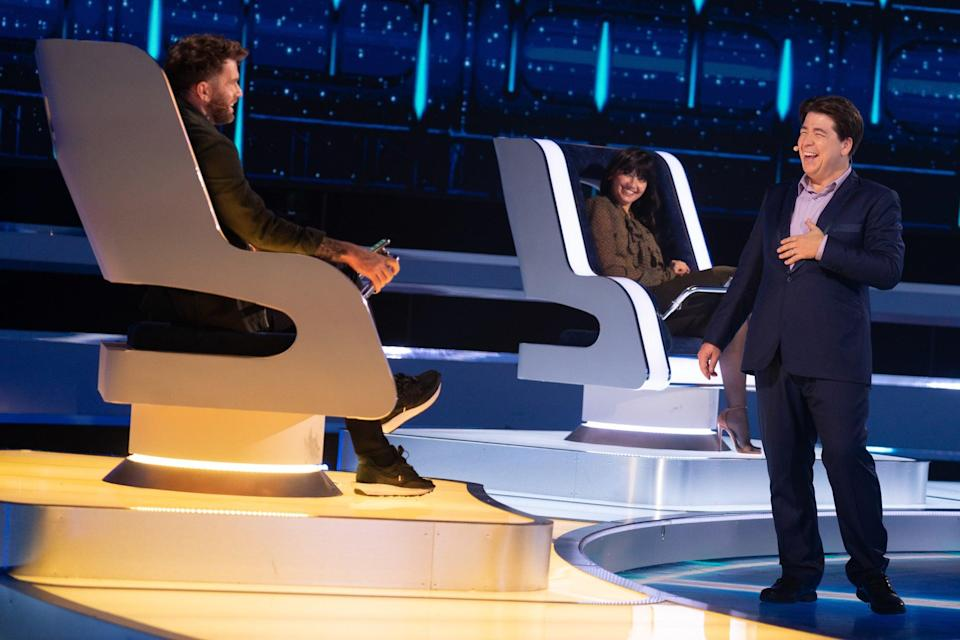 Michael McIntyre chats to guest Joel Dommett and Daisy LoweBBC/Hungry Bear/Gary Moyes