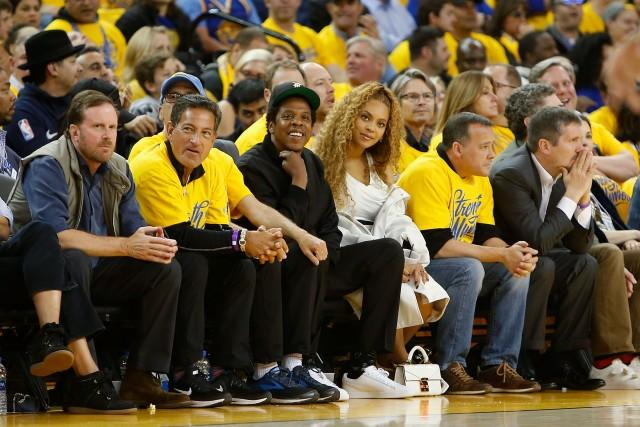 The two music superstars sat courtside for a NBA playoffs game on Saturday night.