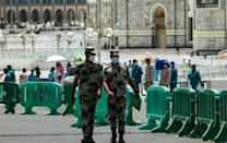 Security forces patrol in Mecca city ahead of the pilgrimage