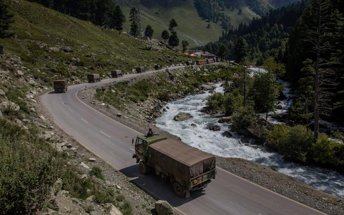 An Indian army convoy carrying reinforcements and supplies in the Ladakh region