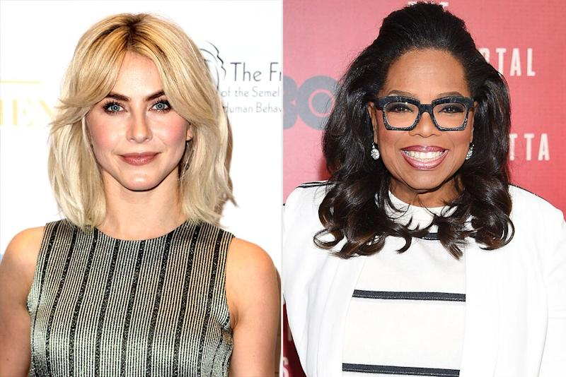 Julianne Hough and Oprah Winfrey | Tommaso Boddi/Getty; Dimitrios Kambouris/Getty