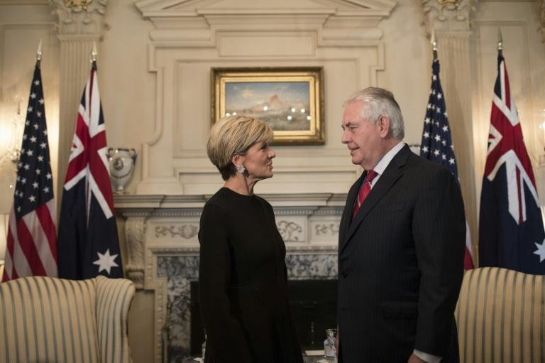 Secretary of State Rex Tillerson greets Australian Foreign Minister Julie Bishop at the State Department February 22, 2017 in Washington, DC