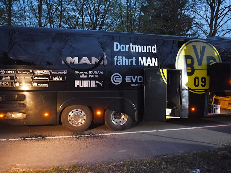 Three explosions went off nearby Dortmund's bus, shattering one window: Getty