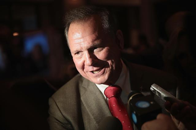 Roy Moore, Alabama's Republicannominee for the U.S. Senate, speaks to reporters after his primary victory on Sept. 26 in Montgomery.