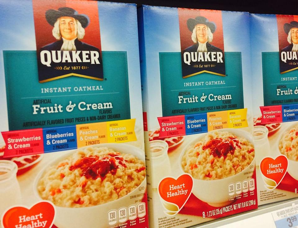 """<p>The convenience of those little flavor packs comes with a price: Most instant oatmeal is loaded with sugar. If you're still all about the instant, look for the plain variety or types that have reduced sugar by 50 percent. Even better? Trying rolled, or old-fashioned, oats. </p><p>Oats come out of the ground as oat groats, which is their largest, most natural form. Then they got chopped with steel blades and become steel cut, which is a long-cooking grain because it's still pretty dense. After that, they're steamed and rolled, which is what you get when you buy rolled oats. """"Instant is great when you're really in a hurry,"""" says Blatner. """"But if you have just a few extra minutes to spare, you can make rolled oats in the microwave."""" Plus, they absorb more water than instant, so your bowl will be even more filling. Find them in the cereal aisle; they're usually in a cylindrical canister. Prep them just the same as instant, but microwave them for two and a half to five minutes, until the liquid is absorbed.</p>"""