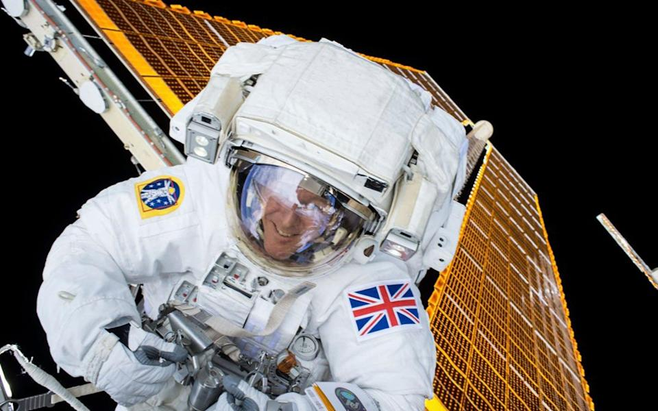 British astronaut Tim Peake is shown during his first spacewalk at the International Space Station in this NASA image tweeted on January 15, 2015. - Reuters/NASA/Handout/via Reuters