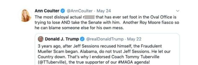 Ann Coulter's tweet calling Trump the R word